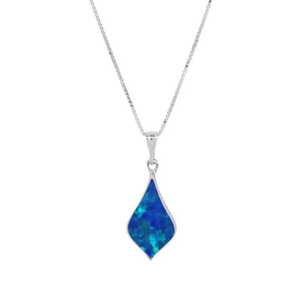 Silver Cobalt Blue Opalite Pendant