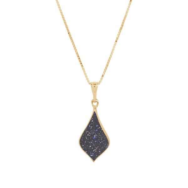 Yellow Gold Blue Goldstone Pendant