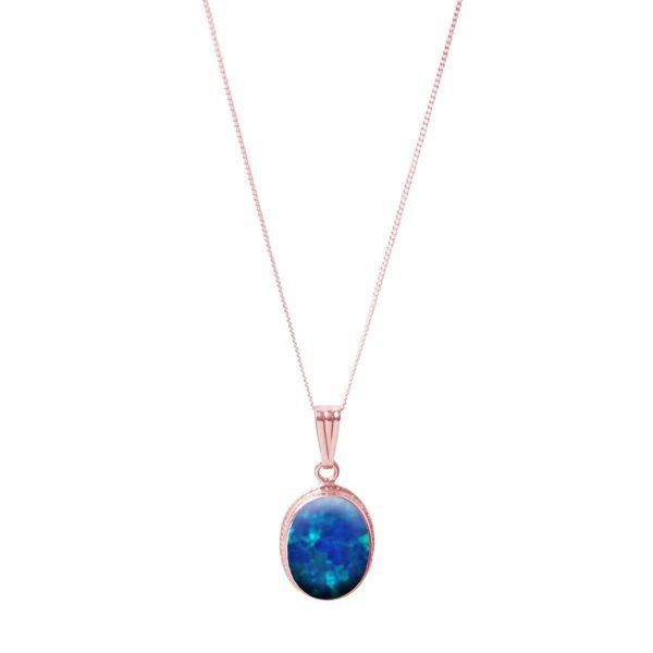 Rose Gold Cobalt Blue Opalite Oval Pendant