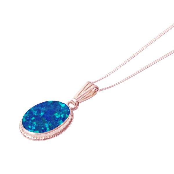 Rose Gold Opalite Cobalt Blue Oval Pendant