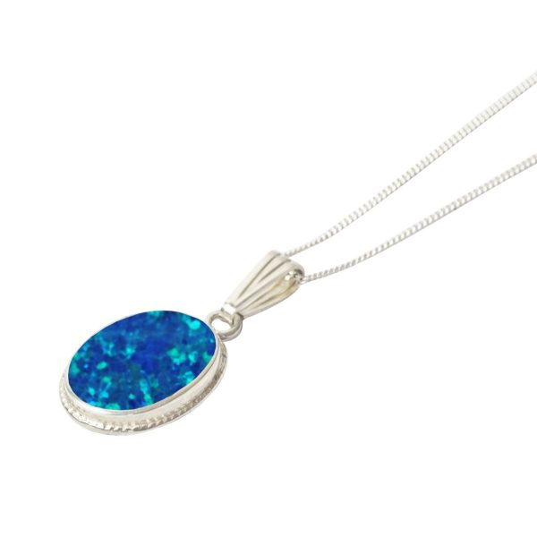 Silver Opalite Cobalt Blue Oval Pendant