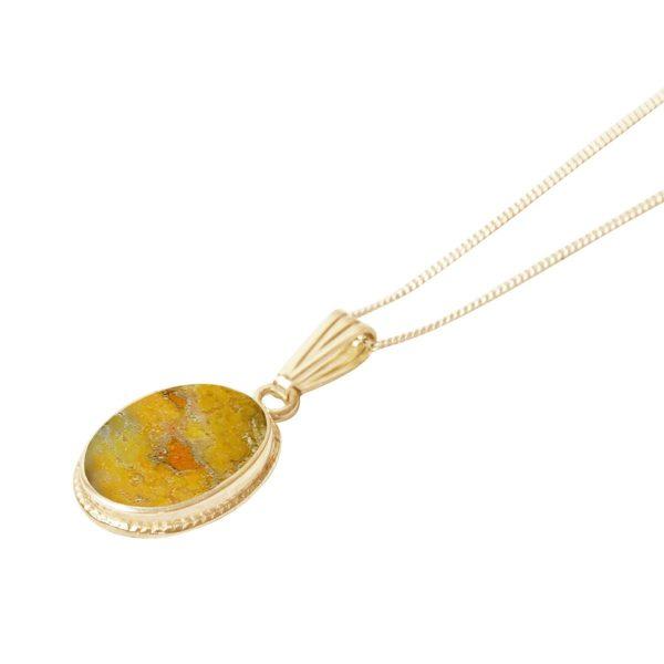 Yellow Gold Bumblebee Jasper Oval Pendant
