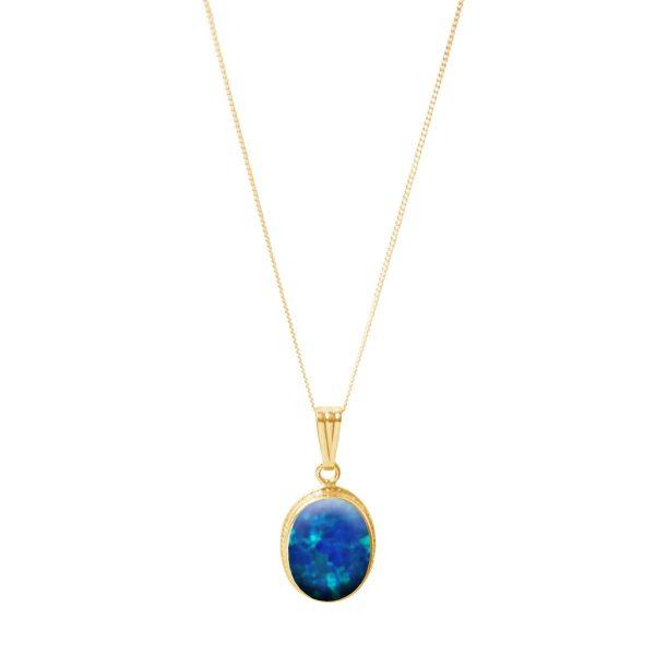 Yellow Gold Cobalt Blue Opalite Oval Pendant