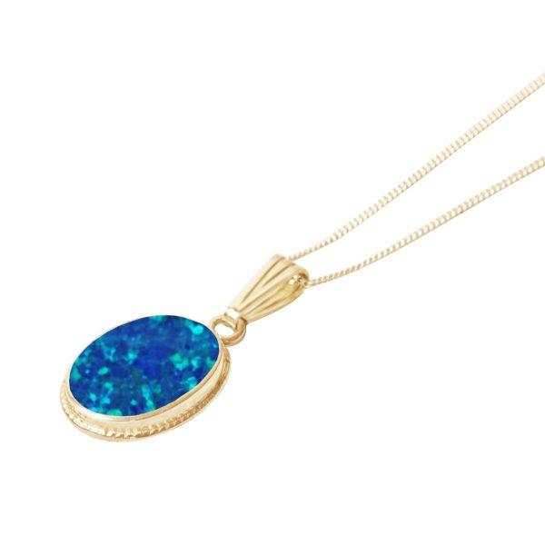 Yellow Gold Opalite Cobalt Blue Oval Pendant
