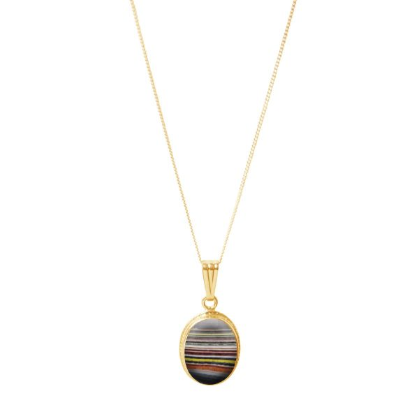 Yellow Gold Fordite Oval Pendant