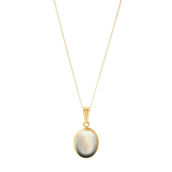Yellow Gold Mother of Pearl Oval Pendant