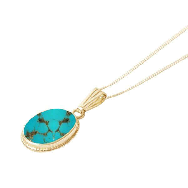 Yellow Gold Turquoise Oval Pendant