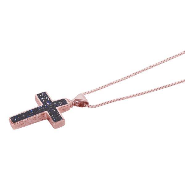 Rose Gold Blue Goldstone Cross Pendant