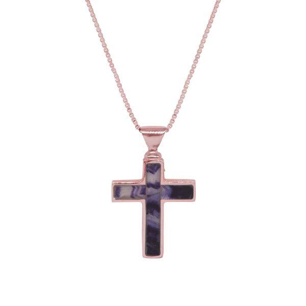 Rose Gold Blue John Cross Pendant