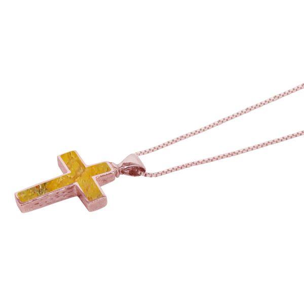 Rose Gold Bumblebee Jasper Cross Pendant