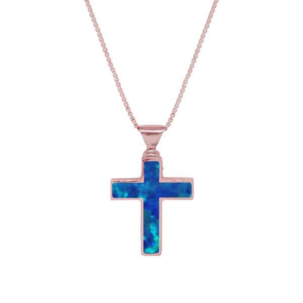 Rose Gold Cobalt Blue Opalite Cross Pendant