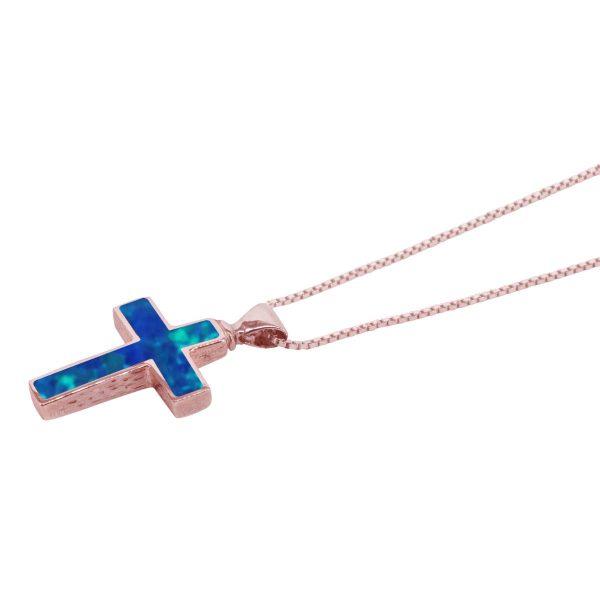 Rose Gold Opalite Cobalt Blue Cross Pendant