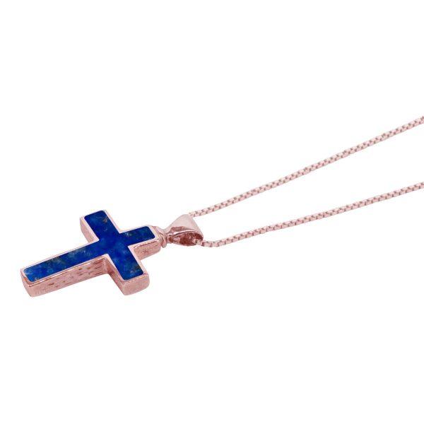 Rose Gold Lapis Cross Pendant