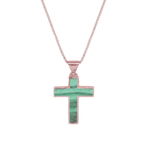 Rose Gold Malachite Cross Pendant