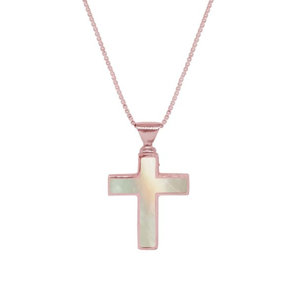 Rose Gold Mother of Pearl Cross Pendant