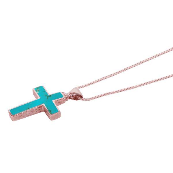 Rose Gold Turquoise Cross Pendant