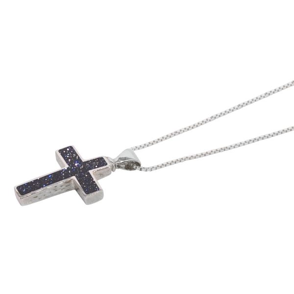 Silver Blue Goldstone Cross Pendant