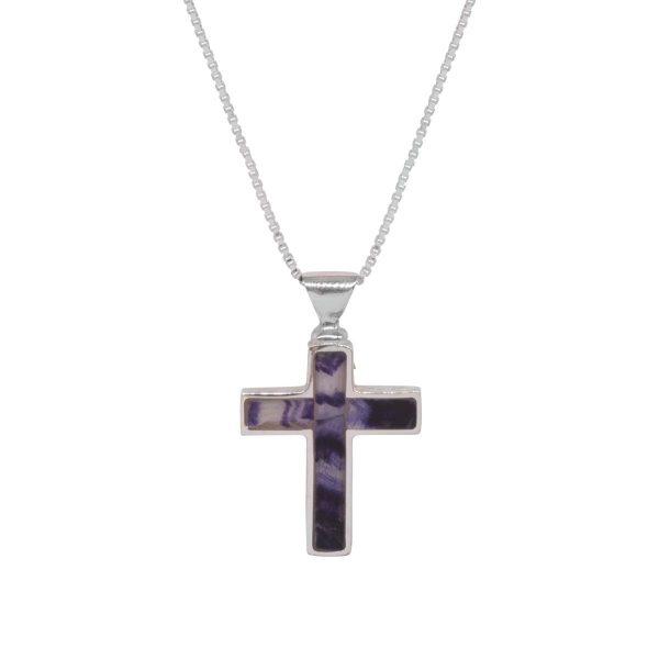Silver Blue John Cross Pendant