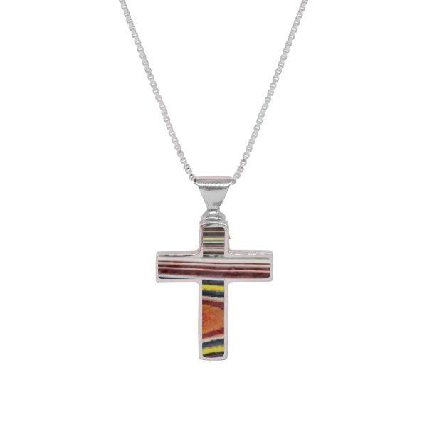 Silver Fordite Cross Pendant