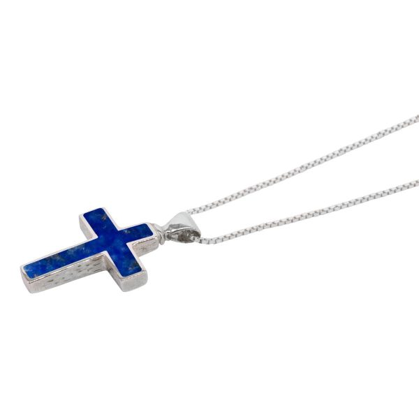 Silver Lapis Cross Pendant