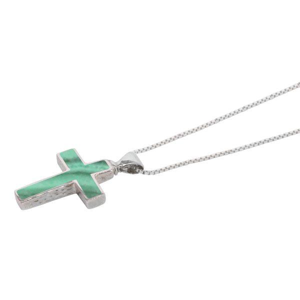 Silver Malachite Cross Pendant