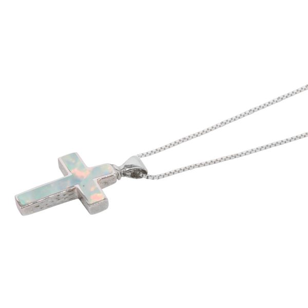 Silver Opalite Sun Ice Cross Pendant