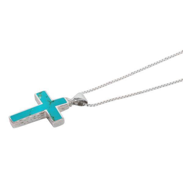 Silver Turquoise Cross Pendant