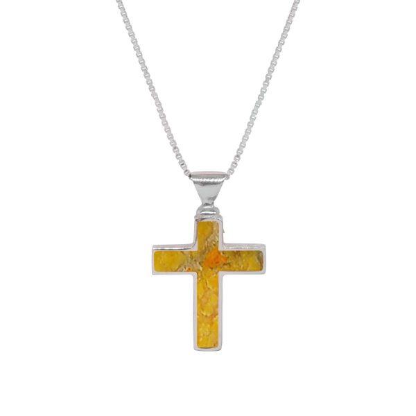 White Gold Bumblebee Jasper Cross Pendant