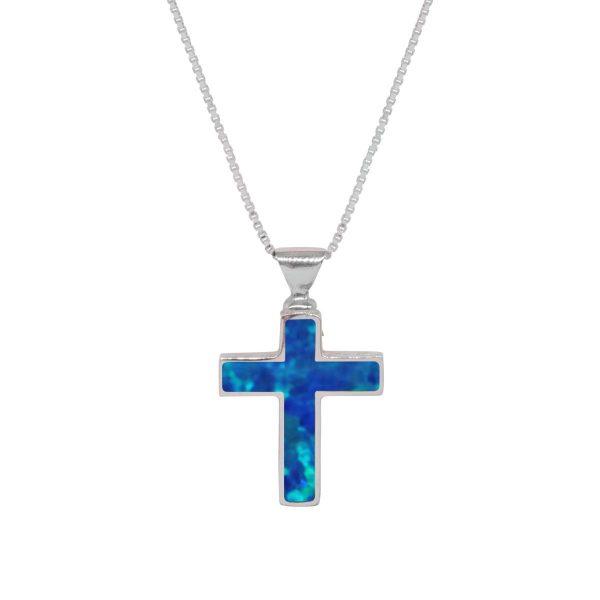 White Gold Opalite Cobalt Blue Cross Pendant