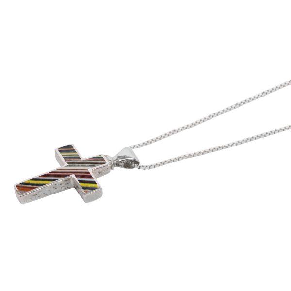 White Gold Fordite Cross Pendant