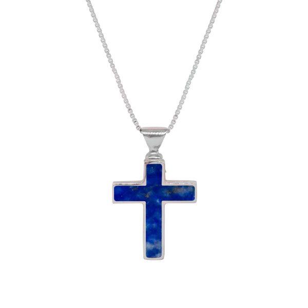 White Gold Lapis Cross Pendant