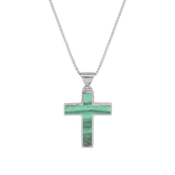White Gold Malachite Cross Pendant