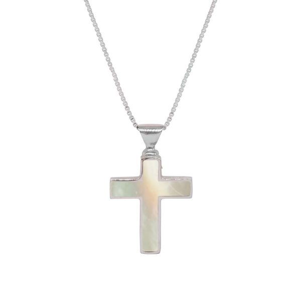 White Gold Mother of Pearl Cross Pendant