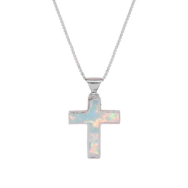 White Gold Opalite Sun Ice Cross Pendant