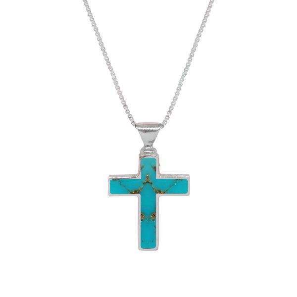 White Gold Turquoise Cross Pendant