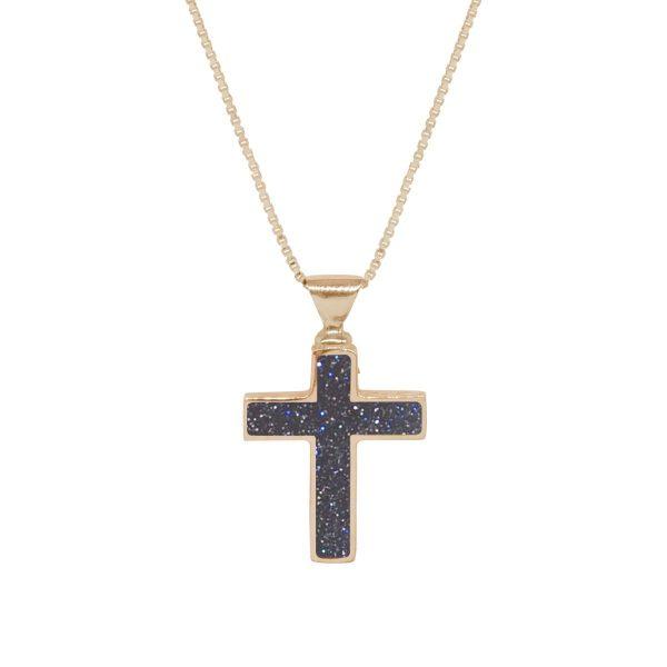 Yellow Gold Blue Goldstone Cross Pendant