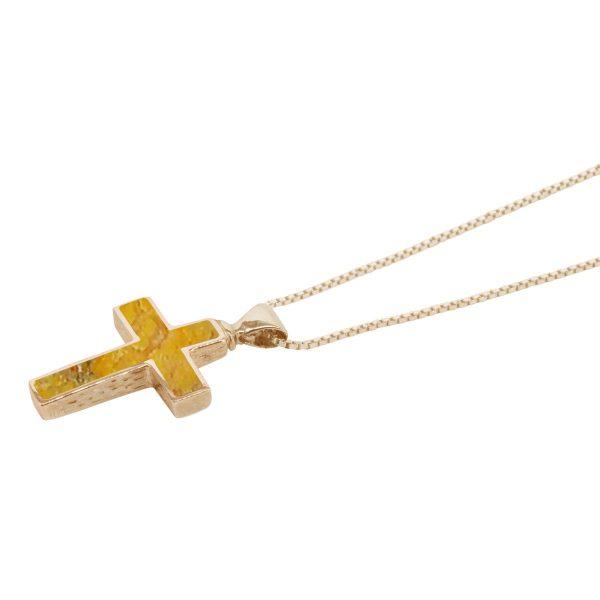 Yellow Gold Bumblebee Jasper Cross Pendant