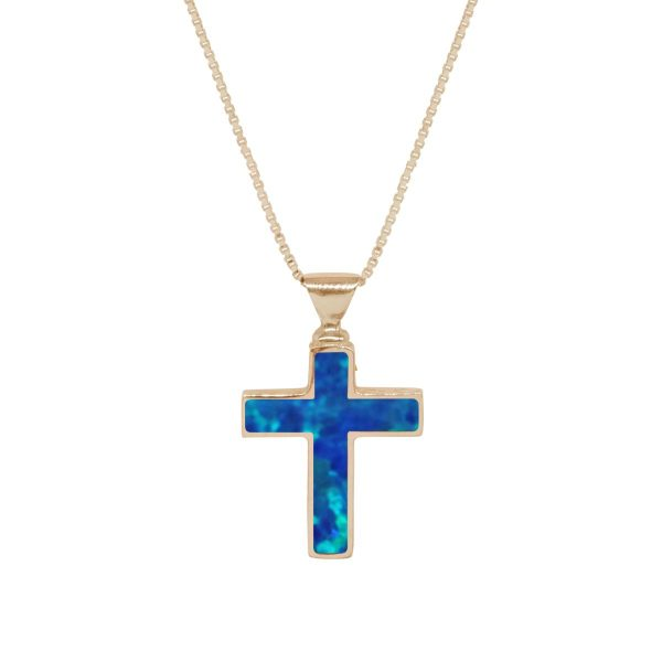 Yellow Gold Opalite Cobalt Blue Cross Pendant