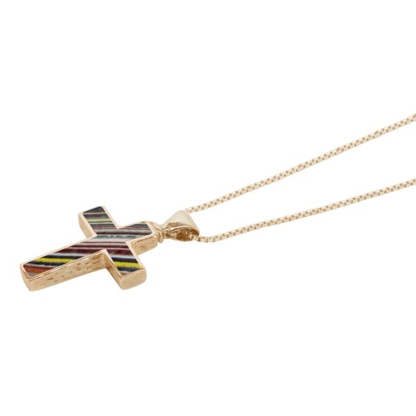 Yellow Gold Fordite Cross Pendant
