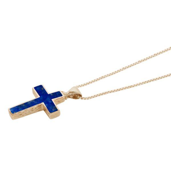 Yellow Gold Lapis Cross Pendant