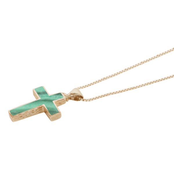 Yellow Gold Malachite Cross Pendant
