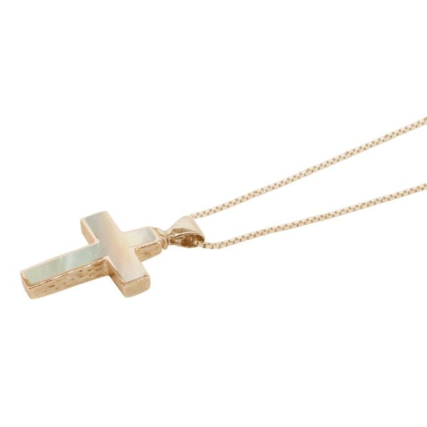 Yellow Gold Mother of Pearl Cross Pendant