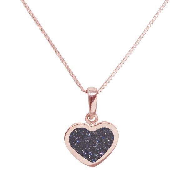 Rose Gold Blue Goldstone Heart Shaped Pendant