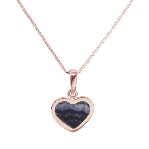 Rose Gold Blue John Heart Shaped Pendant