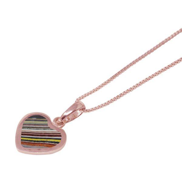 Rose Gold Fordite Heart Shaped Pendant