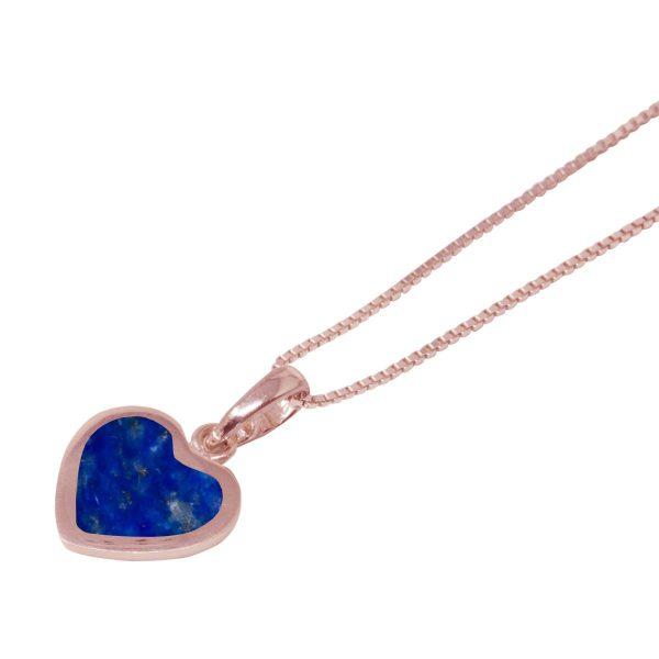 Rose Gold Lapis Heart Shaped Pendant