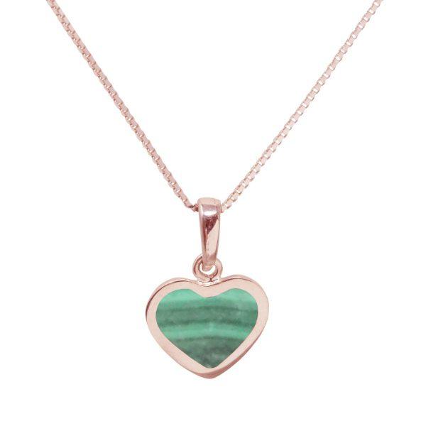 Rose Gold Malachite Heart Shaped Pendant