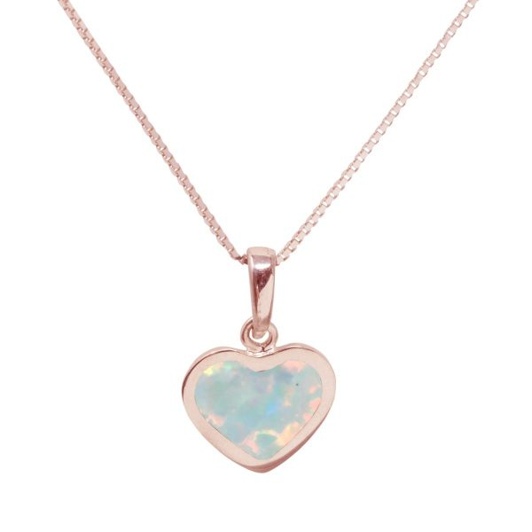 Rose Gold Opalite Sun Ice Heart Shaped Pendant