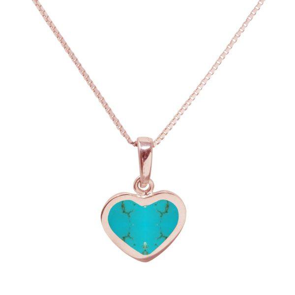 Rose Gold Turquoise Heart Shaped Pendant