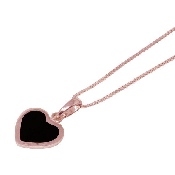 Rose Gold Whitby Jet Heart Shaped Pendant